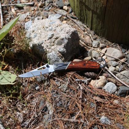 Rosewood Handle Engraved Pocket Knife