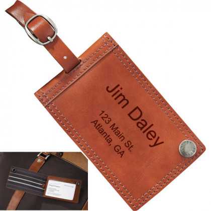 Cutter & Buck Deluxe Engraved Leather Luggage Tag
