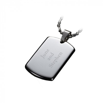 Stainless Steel Round Edge Engraved Soldier Dog Tag