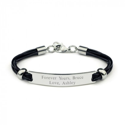 Black Leather Stainless Steel ID Bracelet