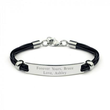 Black Leather Cord ID Bracelet