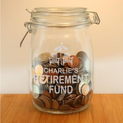 Custom Engraved Retirement Money Jar
