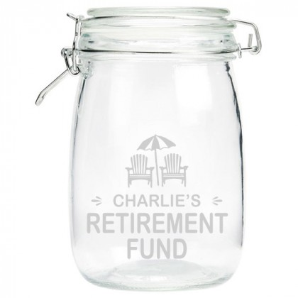 Engraved Retirement Money Jar