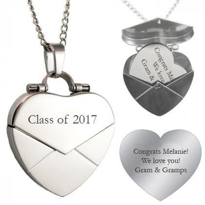 Engraved Secret Message Heart Envelope Locket