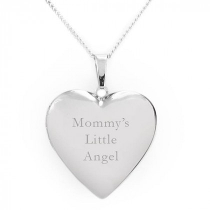 Engraved Heart Photo Locket