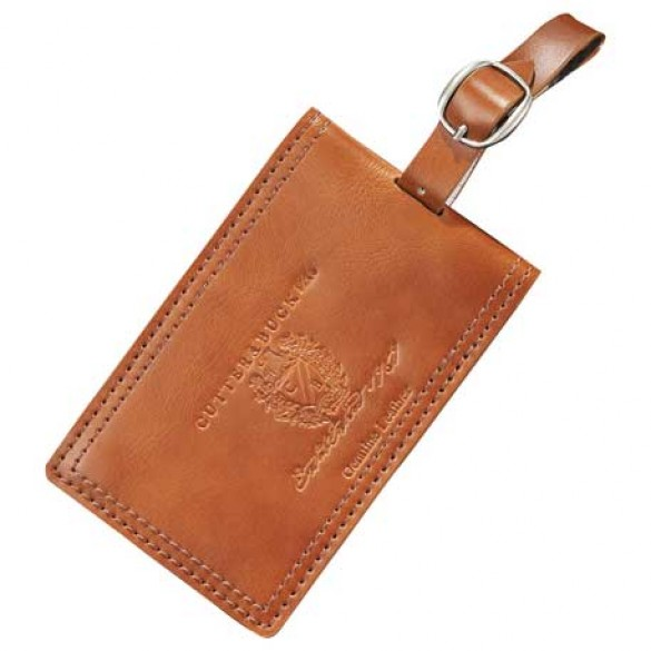 Personalized Cutter & Buck Tan Leather Luggage Tag