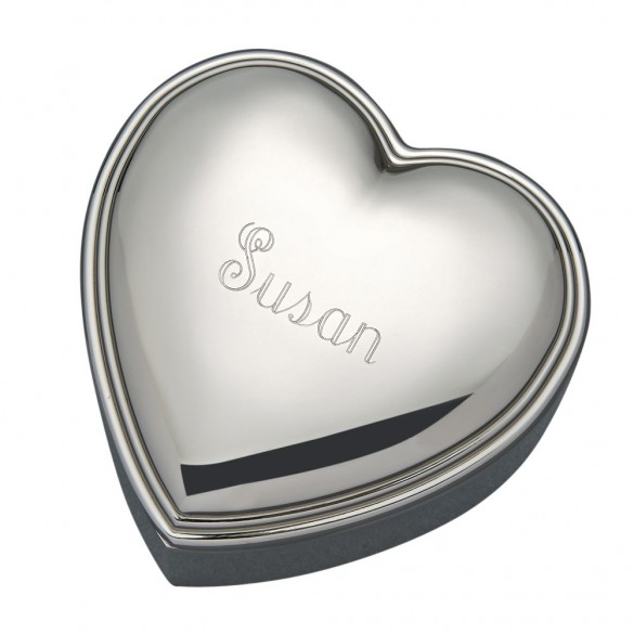 Heart Shaped Engraved Jewelry Box