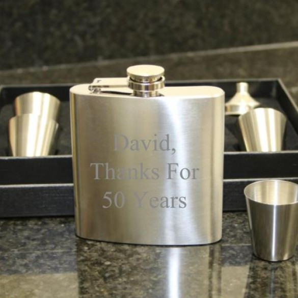 Engraved Flask Set For Groomsmen