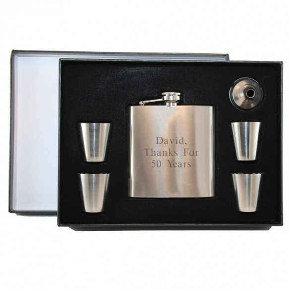 Engraved Boxed Flask Set with Shot Glasses