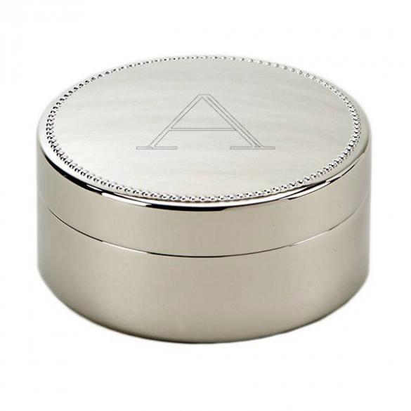 Bead edge round custom jewelry box with initial forallgifts for Jewelry box with initials