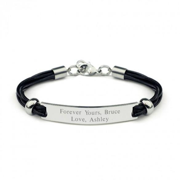 Engravable Black Leather Cord ID Bracelet