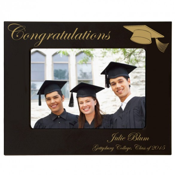 Graduation Personalized Photo Frame Engraved in Gold - 4 x 6
