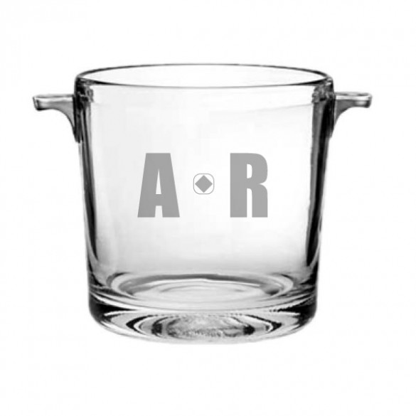 glass bucket for ice and wine with engraving