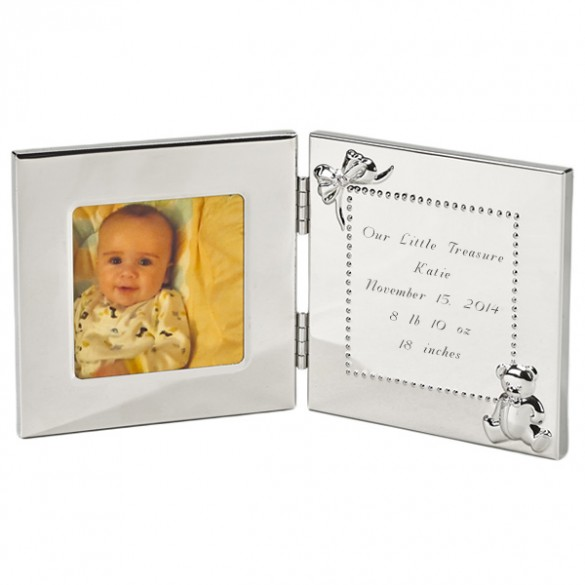 Teddy Bear Baby Photo Frame With Engraved Message Forallgifts