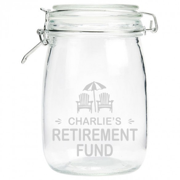 Engraved Retirement Money Jar