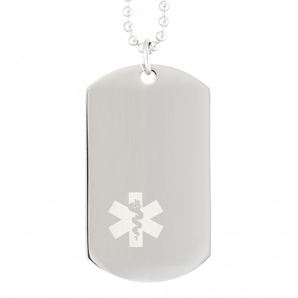 Engraved Medical Alert Dog Tag With Mini Symbol Forallgifts