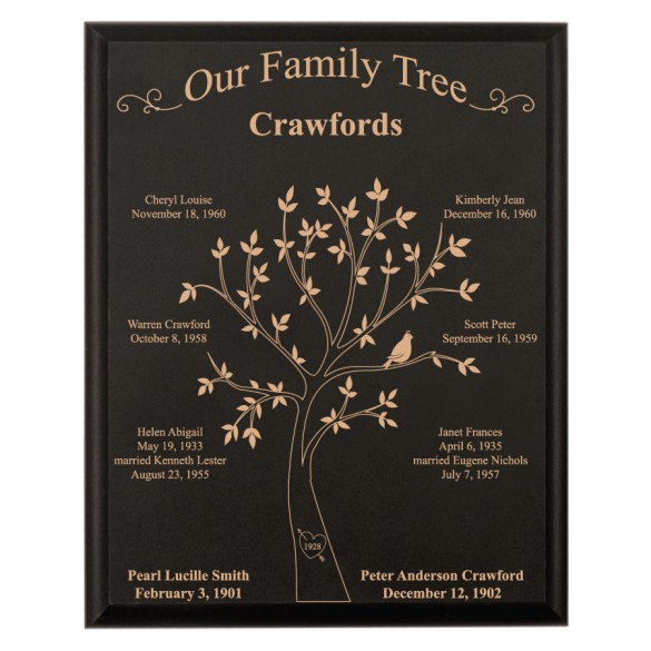 personalized black family tree plaque