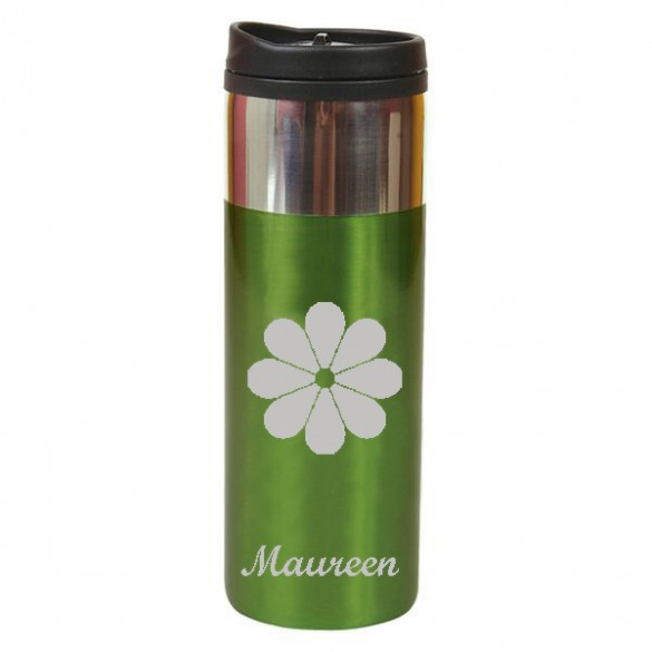 apple green personalized travel mug with chrome trim 14 oz forallgifts
