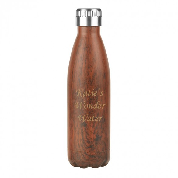 woodgrain all day insulated personalized water bottle 17oz