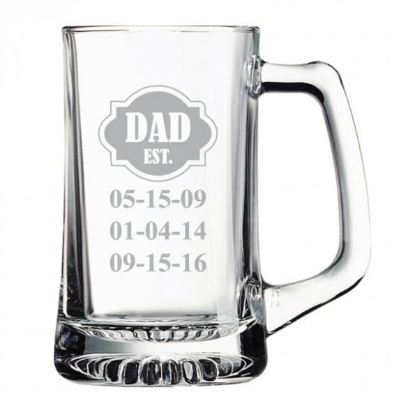 dad established custom etched beer mug 15oz forallgifts