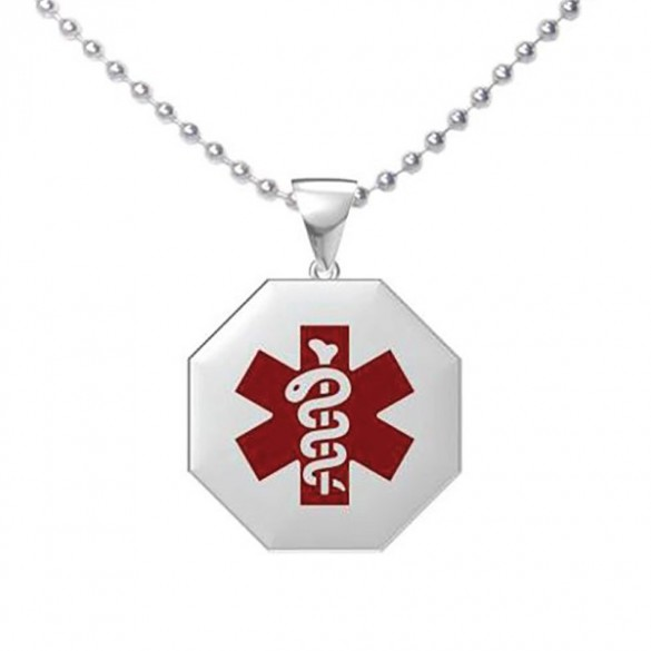 Personalized octagon shape medical id pendant forallgifts engravable octagon medical alert pendant mozeypictures Choice Image