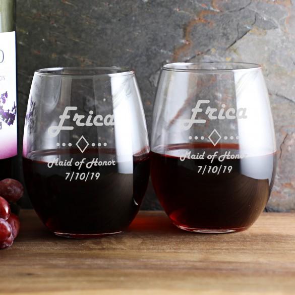 Personalized Wedding Stemless Wine Glass 21 Oz | ForAllGifts