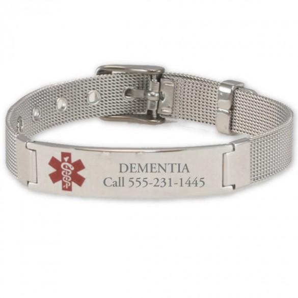 engraved mesh buckle medical id bracelet forallgifts