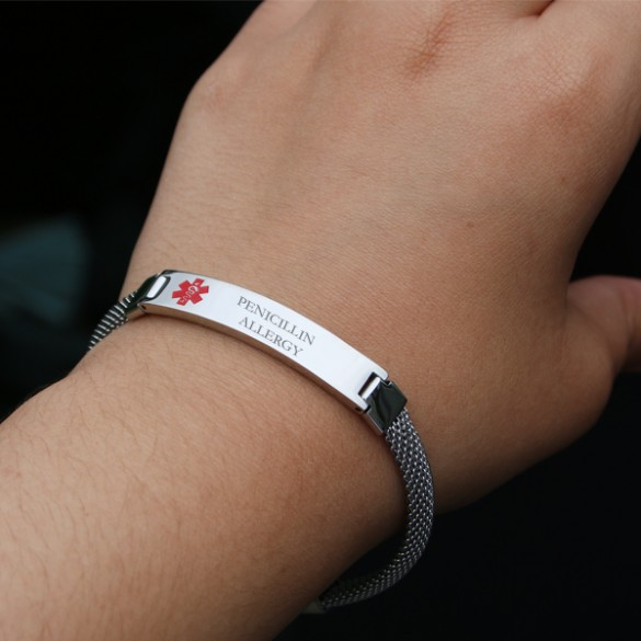 La S Mesh Band Medical Alert Bracelet Women