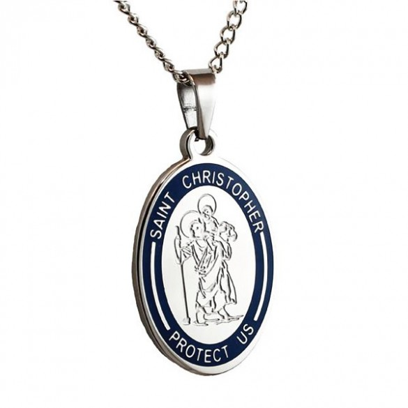Engravable st christopher medal pendant forallgifts personalized st christopher pendant aloadofball Gallery