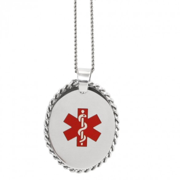 Engraved oval medical id pendant with cabled edge forallgifts personalized oval medical alert pendant with cabled edge aloadofball Images