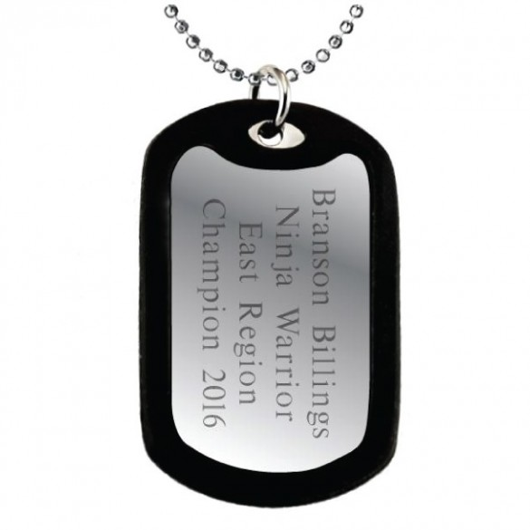 engraved dog tag with black silencer forallgifts