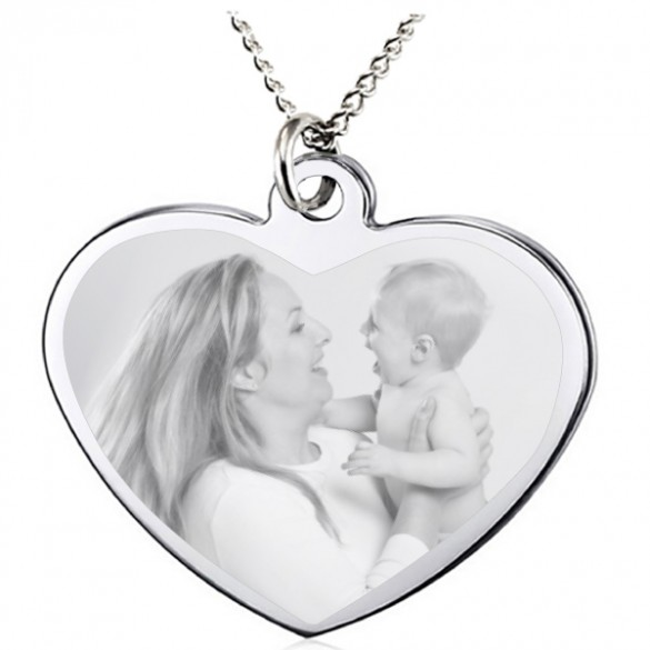 Custom Engraved Heart Picture Pendant