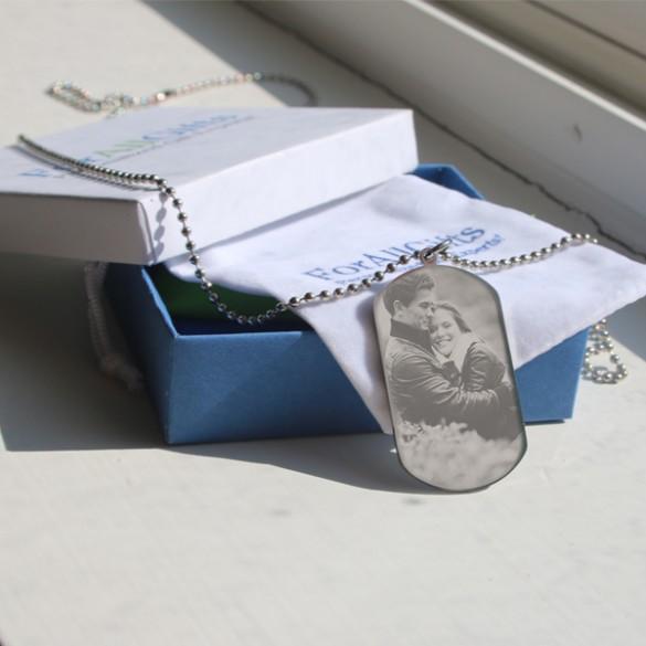 Medium Custom Engraved Photo Dog Tag