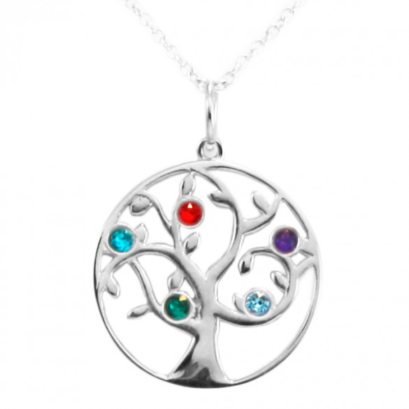5 Stone Birthstone Family Tree Pendant