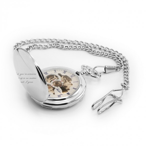 Engraved Skeleton Pocket Watch in Stainless Steel