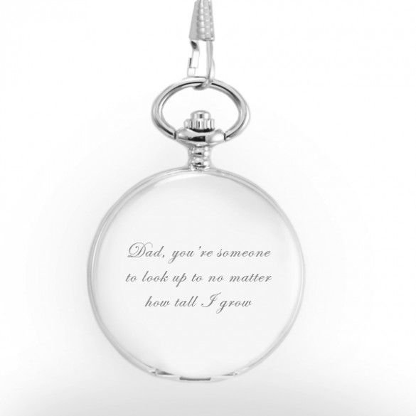 Engraved Pocket Watch in Stainless Steel