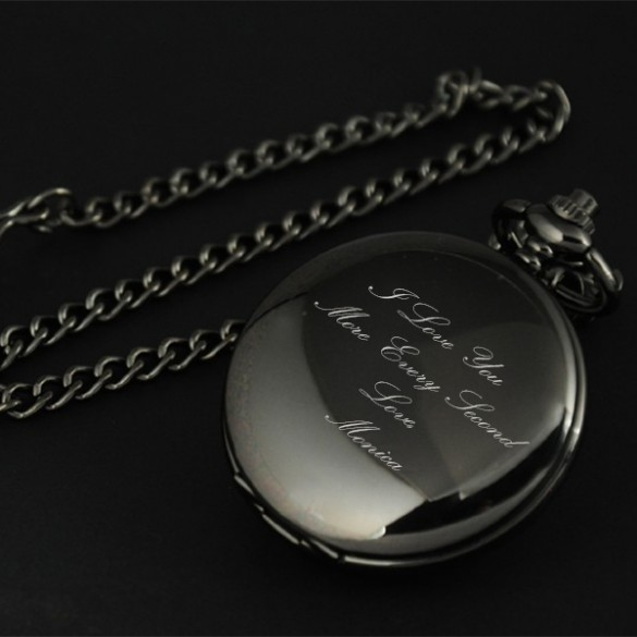 Engraved Pocket Watch in Smooth Black
