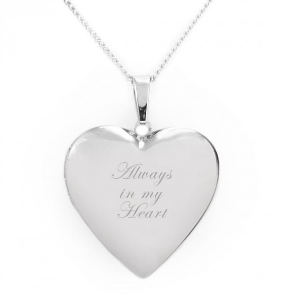 Engraved Heart Picture Locket