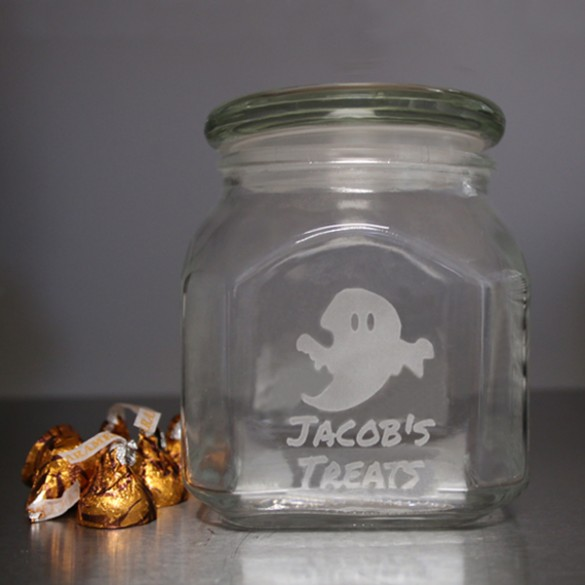 Spooky Ghost Halloween Treats Personalized Candy Jar