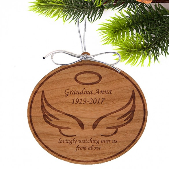 angel wings personalized wooden memorial ornament forallgifts