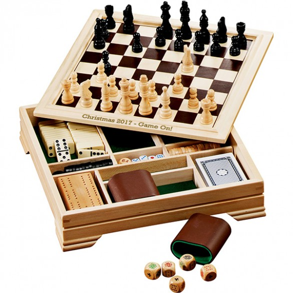 7 in 1 Board Game Set with Personalized Chess Cover