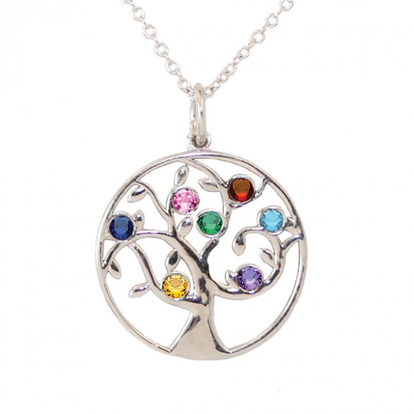 Family tree birthstone necklace 7 stone birthstone pendant aloadofball Images
