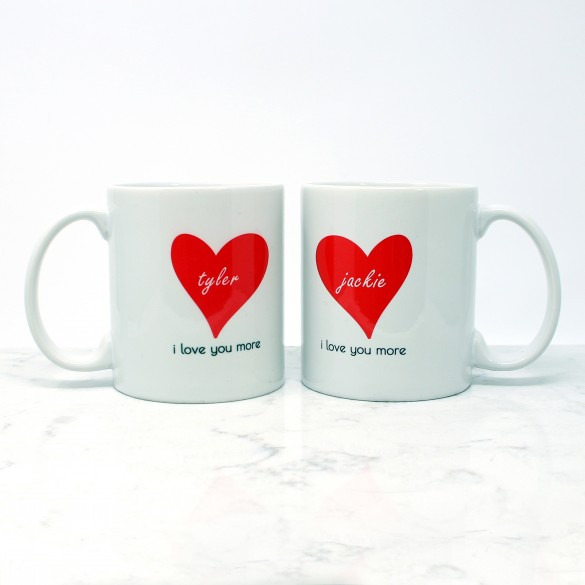 love you more personalized coffee mugs set of 2 11 oz