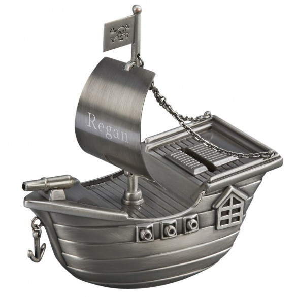 Engraved Pirate Ship Bank For Kids