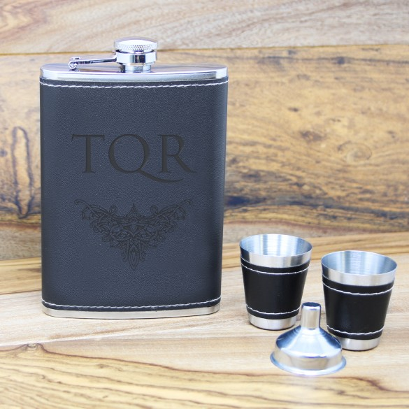 gothic monogrammed black leather flask set