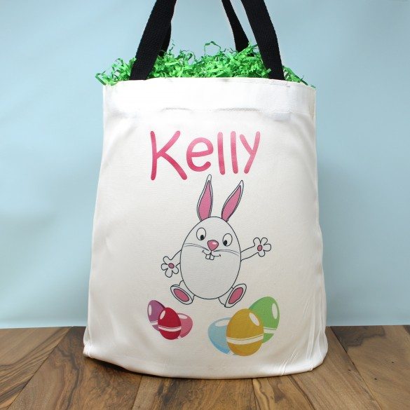 Personalized Egg Hunt Easter Bunny Tote Bag