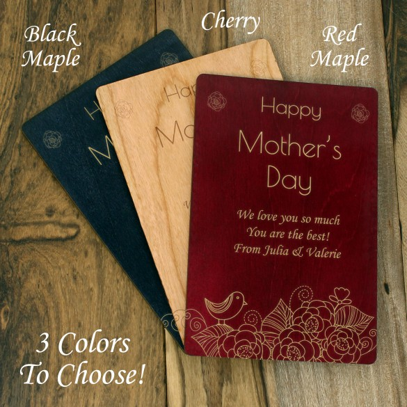 Happy Mother's Day Personalized Wood Card