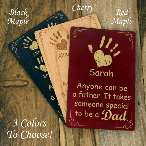 Children's Handprints Personalized Wood Engraved Father's Day Card