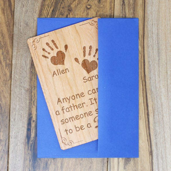 Kids Handprints Personalized Wood Father's Day Card