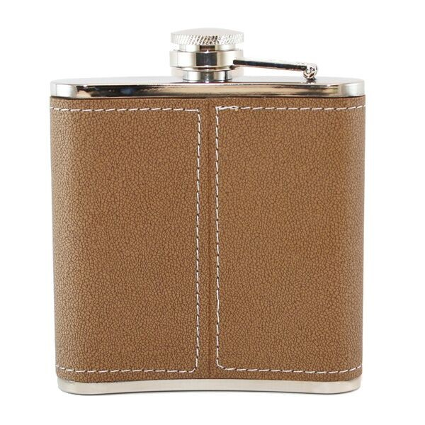brown leather monogrammed flask